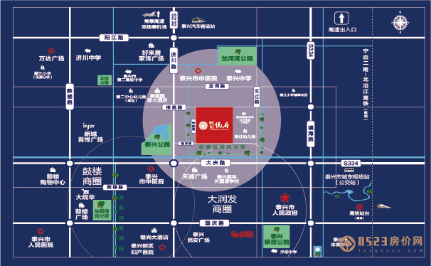 泰兴恒大悦府区位图